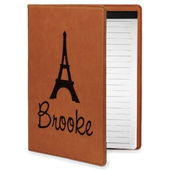 Eiffel Tower Leatherette Portfolio with Notepad - Small - Single Sided (Personalized)