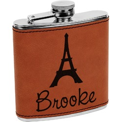 Eiffel Tower Leatherette Wrapped Stainless Steel Flask (Personalized)