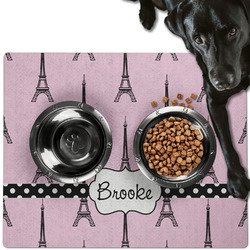 Eiffel Tower Dog Food Mat - Large w/ Name or Text