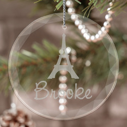 Eiffel Tower Engraved Glass Ornament (Personalized)