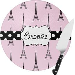 Eiffel Tower Round Glass Cutting Board (Personalized)