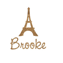 Eiffel Tower Glitter Iron On Transfer- Custom Sized (Personalized)