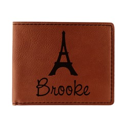 Eiffel Tower Leatherette Bifold Wallet - Double Sided (Personalized)