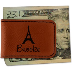 Eiffel Tower Leatherette Magnetic Money Clip (Personalized)
