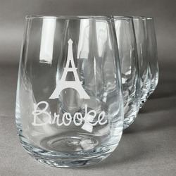 Eiffel Tower Stemless Wine Glasses (Set of 4) (Personalized)