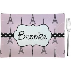 Eiffel Tower Glass Rectangular Appetizer / Dessert Plate - Single or Set (Personalized)