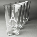 Eiffel Tower Beer Glasses (Set of 4) (Personalized)