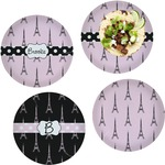 Eiffel Tower Set of 4 Lunch / Dinner Plates (Glass) (Personalized)