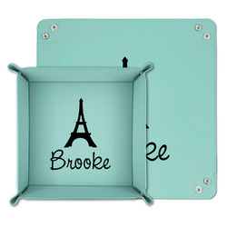 Eiffel Tower Teal Faux Leather Valet Tray (Personalized)