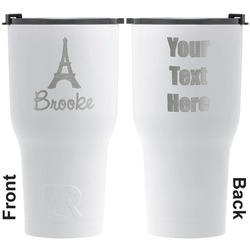 Eiffel Tower RTIC Tumbler - White - Engraved Front & Back (Personalized)