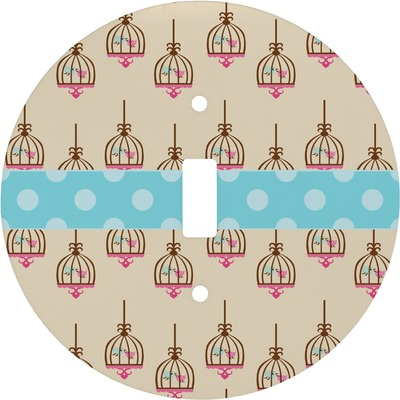 Kissing Birds Round Light Switch Cover (Personalized)