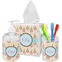 Kissing Birds Bathroom Accessories Set (Personalized)