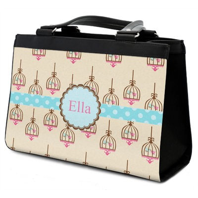 Kissing Birds Classic Tote Purse w/ Leather Trim w/ Name or Text