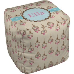 Kissing Birds Cube Pouf Ottoman (Personalized)