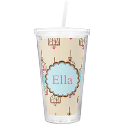 Kissing Birds Double Wall Tumbler with Straw (Personalized)