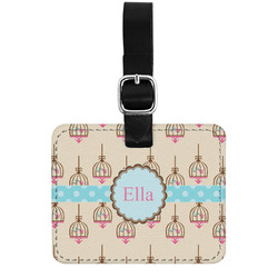 Kissing Birds Genuine Leather Luggage Tag w/ Name or Text