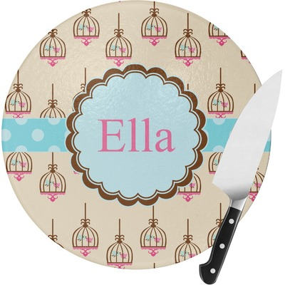 Kissing Birds Round Glass Cutting Board (Personalized)