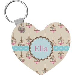 Kissing Birds Heart Keychain (Personalized)
