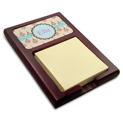 Kissing Birds Red Mahogany Sticky Note Holder (Personalized)
