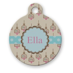 Kissing Birds Round Pet ID Tag (Personalized)