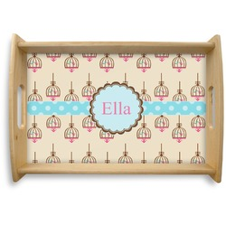 Kissing Birds Natural Wooden Tray (Personalized)