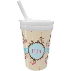 Kissing Birds Sippy Cup with Straw (Personalized)