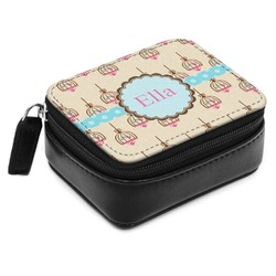 Kissing Birds Small Leatherette Travel Pill Case (Personalized)
