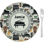 """Musical Instruments Glass Appetizer / Dessert Plates 8"""" - Single or Set (Personalized)"""