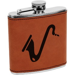 Musical Instruments Leatherette Wrapped Stainless Steel Flask (Personalized)