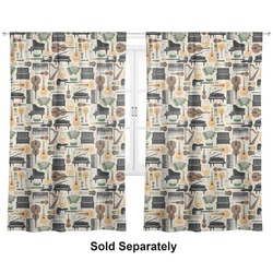 "Musical Instruments Curtains - 20""x54"" Panels - Lined (2 Panels Per Set) (Personalized)"