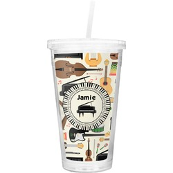 Musical Instruments Double Wall Tumbler with Straw (Personalized)