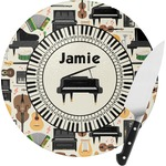 Musical Instruments Round Glass Cutting Board (Personalized)