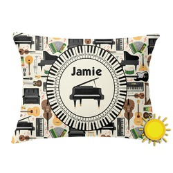 Musical Instruments Outdoor Throw Pillow (Rectangular) (Personalized)