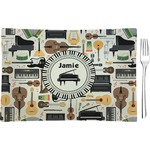 Musical Instruments Glass Rectangular Appetizer / Dessert Plate - Single or Set (Personalized)