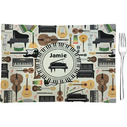 Musical Instruments Rectangular Glass Appetizer / Dessert Plate - Single or Set (Personalized)