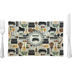 Musical Instruments Rectangular Glass Lunch / Dinner Plate - Single or Set (Personalized)