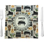 """Musical Instruments Glass Square Lunch / Dinner Plate 9.5"""" - Single or Set of 4 (Personalized)"""