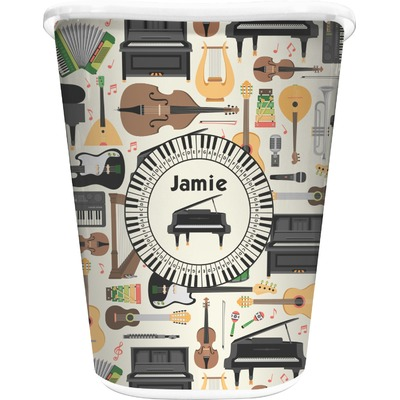 Musical Instruments Waste Basket - Single Sided (White) (Personalized)