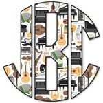 Musical Instruments Monogram Decal - Custom Sized (Personalized)
