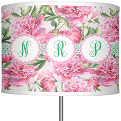 """Watercolor Peonies 13"""" Drum Lamp Shade Polyester (Personalized)"""