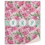 Watercolor Peonies Sherpa Throw Blanket (Personalized)