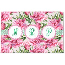 Watercolor Peonies Woven Mat (Personalized)