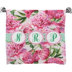 Watercolor Peonies Full Print Bath Towel (Personalized)