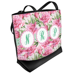 Watercolor Peonies Beach Tote Bag (Personalized)