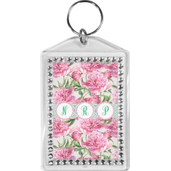 Watercolor Peonies Bling Keychain (Personalized)