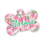 Watercolor Peonies Bone Shaped Dog ID Tag (Personalized)