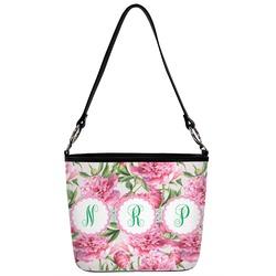 Watercolor Peonies Bucket Bag w/ Genuine Leather Trim (Personalized)