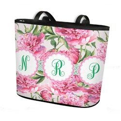 Watercolor Peonies Bucket Tote w/ Genuine Leather Trim (Personalized)