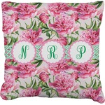 Watercolor Peonies Faux-Linen Throw Pillow (Personalized)