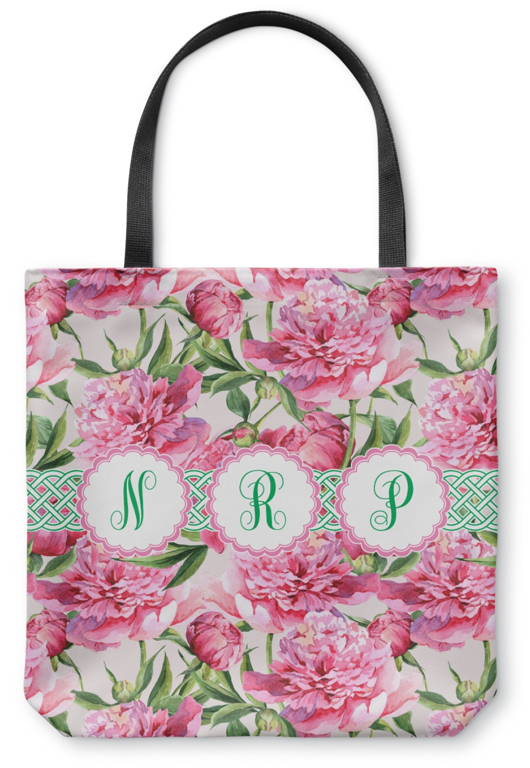 24a4aa4ca3df Watercolor Peonies Canvas Tote Bag (Personalized)